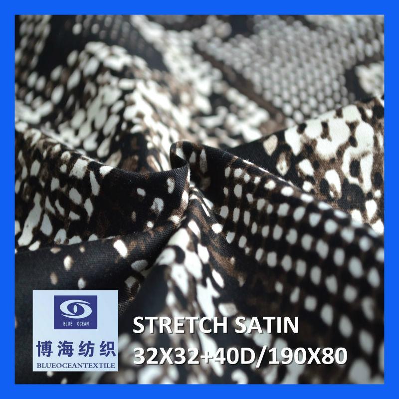 98% cotton 2% spandex printed satin fabric 32x32+40d/190x80 1