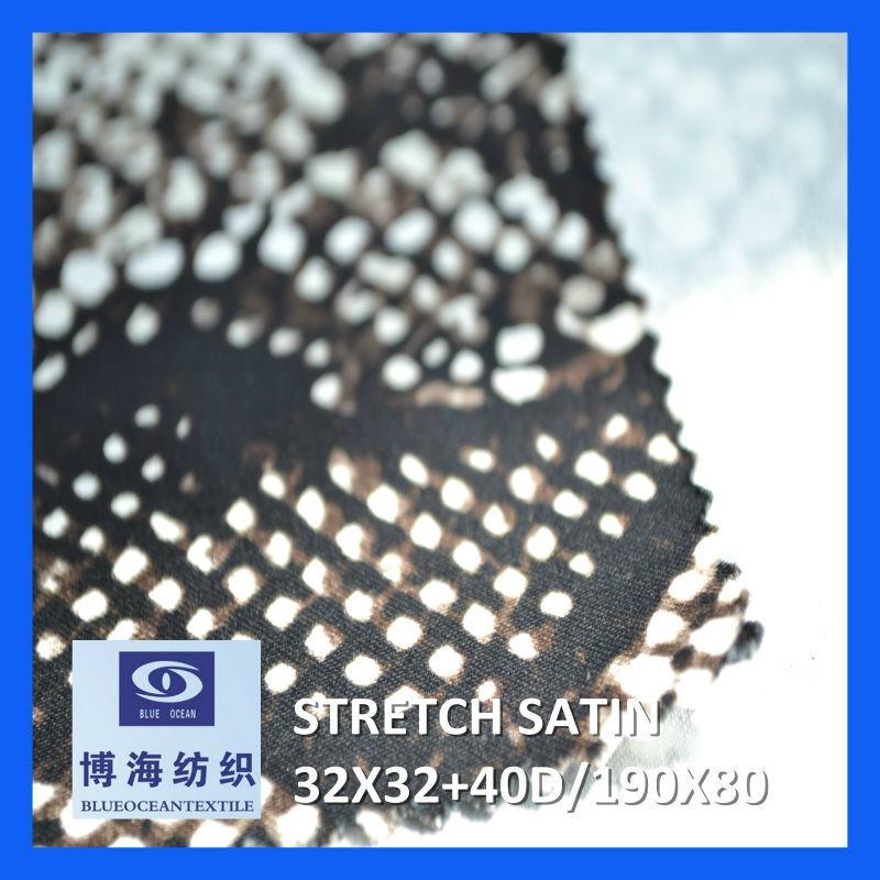 98% cotton 2% spandex printed satin fabric 32x32+40d/190x80 4