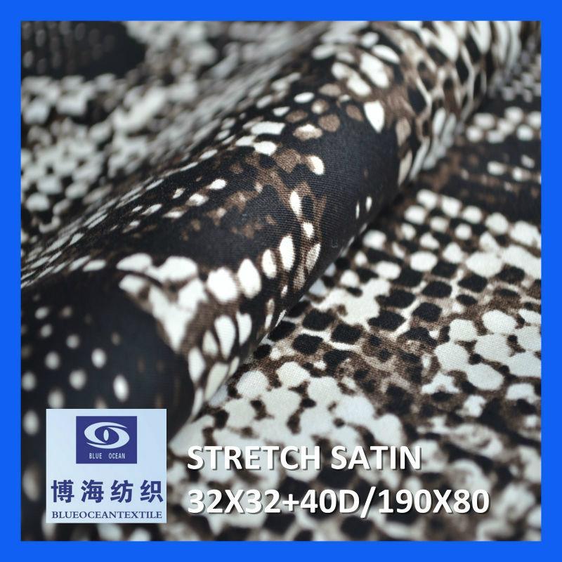 98% cotton 2% spandex printed satin fabric 32x32+40d/190x80 5