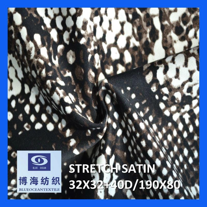 98% cotton 2% spandex printed satin fabric 32x32+40d/190x80 6
