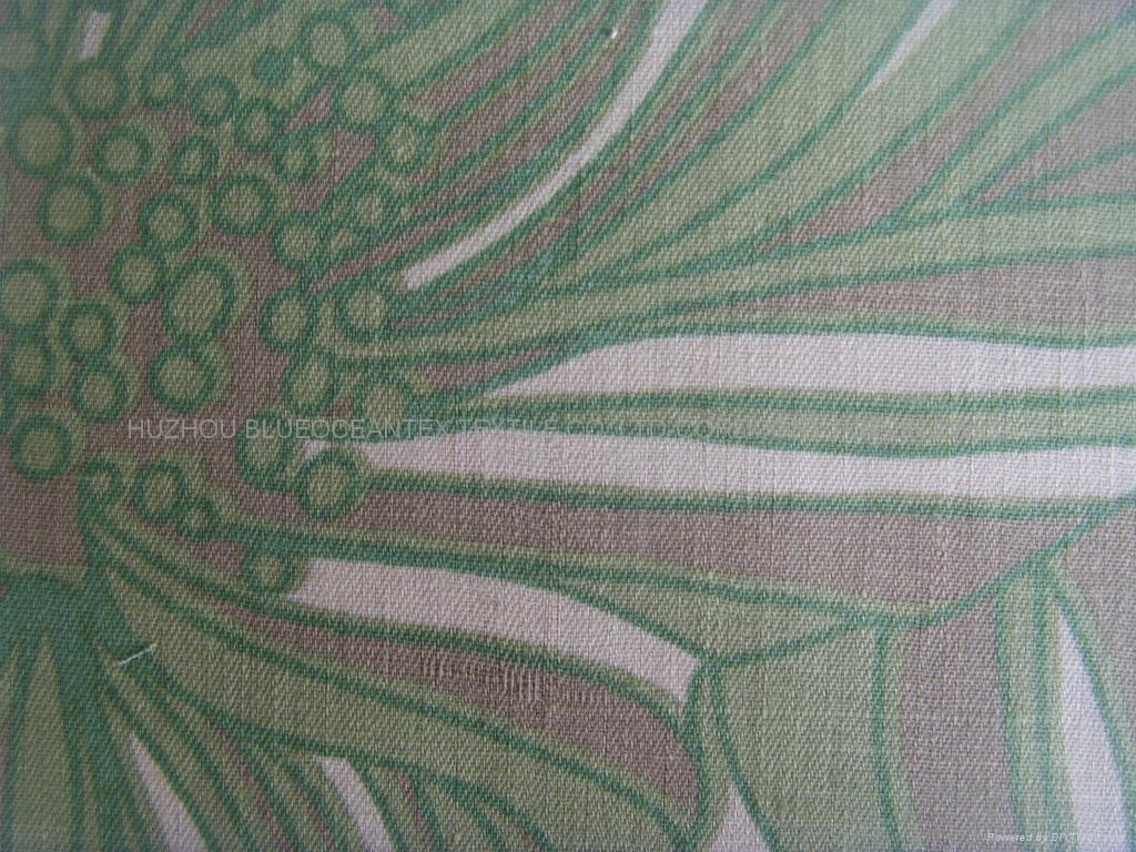 LINEN COTTON MIXED SPINNING TWILL FABRIC PRINTED
