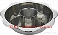 Cooking S/S hot pot with Central pot & 4 partition Available induction Cooker