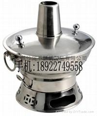 炊具18-8 不鏽鋼傳統燒木碳煙囪火鍋家庭酒樓火鍋店用品不易生鏽