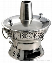 304 stainless steel Vintage Chinese charcoal Stove with Chimney Hot Pot
