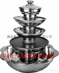 Stainless steel five layers hot pot with BBQ Available Radiant-cooker