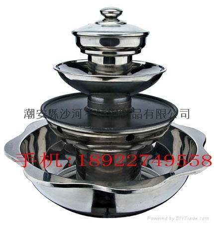 不鏽鋼帶燒烤多層火鍋鍋具 3