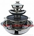 steamboat with teppanyaky BBQ grill & steamer 4 layer Integrated hot pot  3