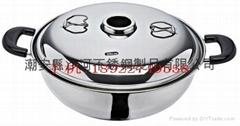 Chinese Stainless Steel Shabu Shabu Hot Pot  W/Central Chimney & lid
