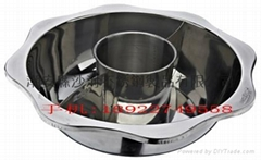 stainless steel pan with central pot partition pots for hot pot parties