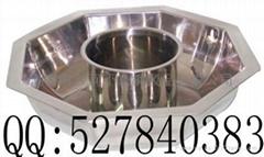 S/S Octagonal shape Shabu Shabu Hot Pot with central pot Available Gas stove