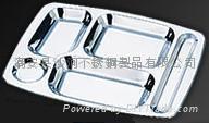 s/s rectangular divided dinner tray 5 sections dinner plates tableware