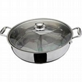Stainless steel 3 divided soup pot, Shamisen Hot Pot Chafing Dish Pot Steamboat