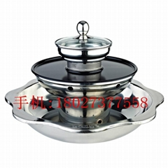 三層火鍋 適用於烤涮一體爐(電) 電磁爐和光波爐不能用