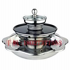 厨具蒸烤涮三层一体火锅适应电陶炉适应商用炊具烧烤火锅店用品