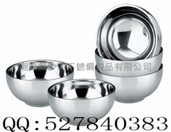 stainless steel Bowl,Inox Double wall Insulated bowl,Double Layer Adiabatic Bowl