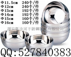 double wall  bowl,Inox  Adiabatic Bowl,Available in Various Sizes and shape