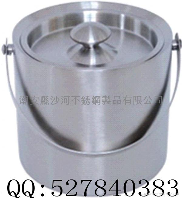 stainless steel double wall ice bucket(1L,2L) 2