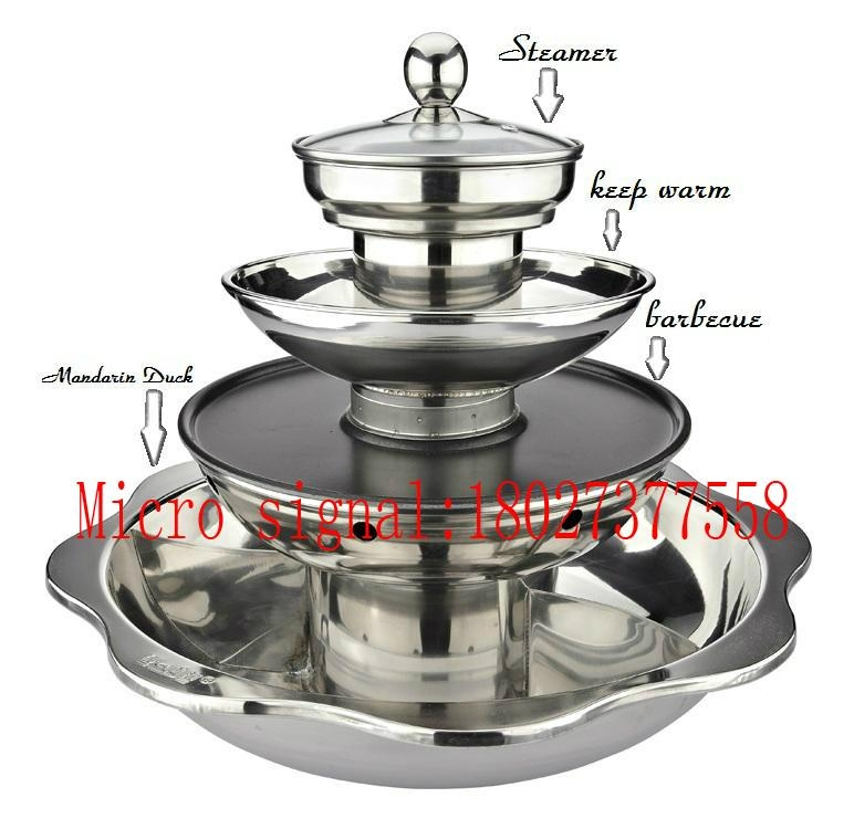 Chinese style Stainless Steel Five Layer Fondue 2