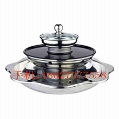 Divided into four layers of stainless steel steamboat