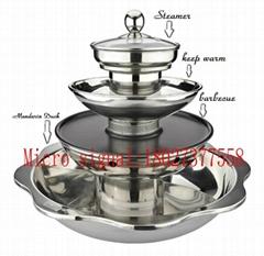 Soup & Teppanyaki BBQ steam Multi-layers Hot Pot steamboat