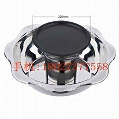 炊具26cm不鏽鋼蓮花燒烤火鍋適用於瓦斯爐電陶爐使用酒樓火鍋店用具