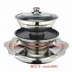 Stainless steel four layer hot pot  Four layer Stainless steel hot pot