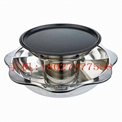 Stainless steel yinyang Hot pot with teppanyaki bbq Available Gas cooker stove