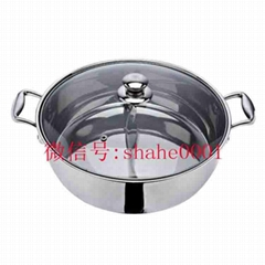 s/s pan with partition into two Parts of Cooking two Different Taste hot pot