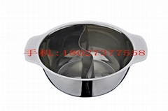 Mandarin duck steamboat,Two compartments stainless steel hot Pot