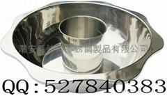 Stainless Steel Lotus Shape Divided Hot Pot w/Capsule bottom