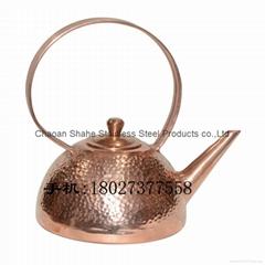紫铜手打茶壶 潮汕功夫茶壶 锤点茶具