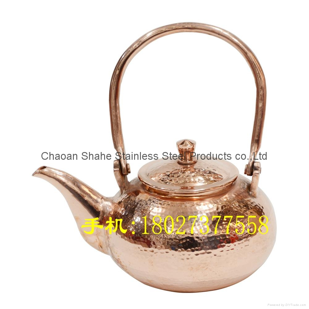 Handmade Copper water pot with Hammer point 2
