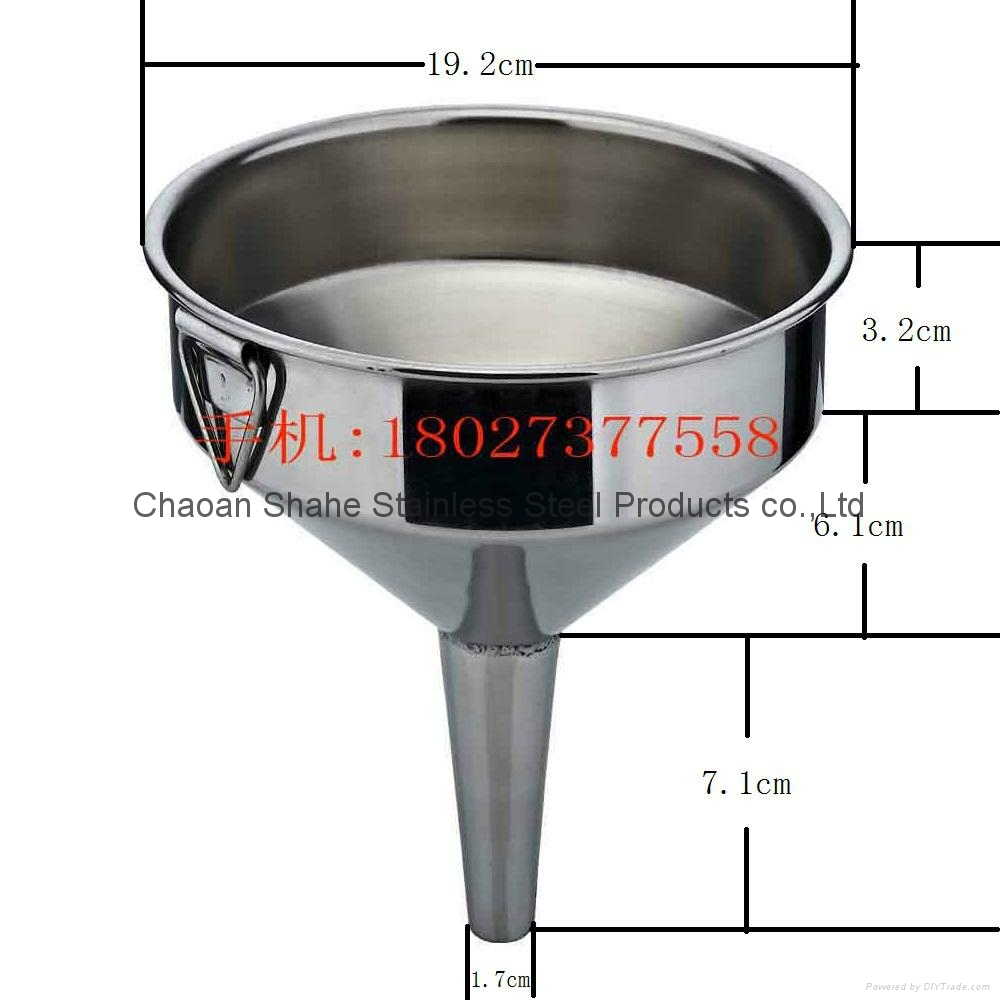 The quality is 1.75 kg,diameter 40 cm,material 304 Stainless steel funnel 16
