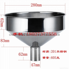 The quality is 1.75 kg,diameter 40 cm,material 201 Stainless steel funnel