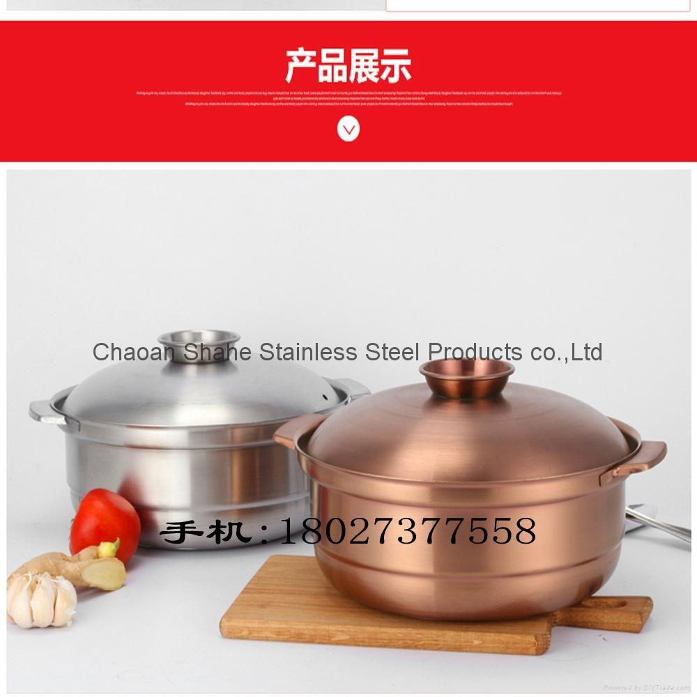 廠家營銷紫銅色不鏽鋼大容量湯鍋廚房砂鍋湯煲容器中國質造促銷 3
