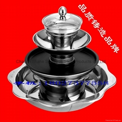shabu pan with Barbecue & steamer 4 layer Integrated hot pot Available gas stove