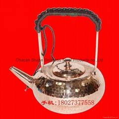 12cm紫铜手打锤点铜水壶