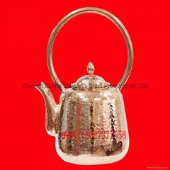 手工錘點潮汕工夫茶具銅水壺