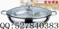 stainess steel yuanyang hot pot with lid,lotus style yuanyang hot pot