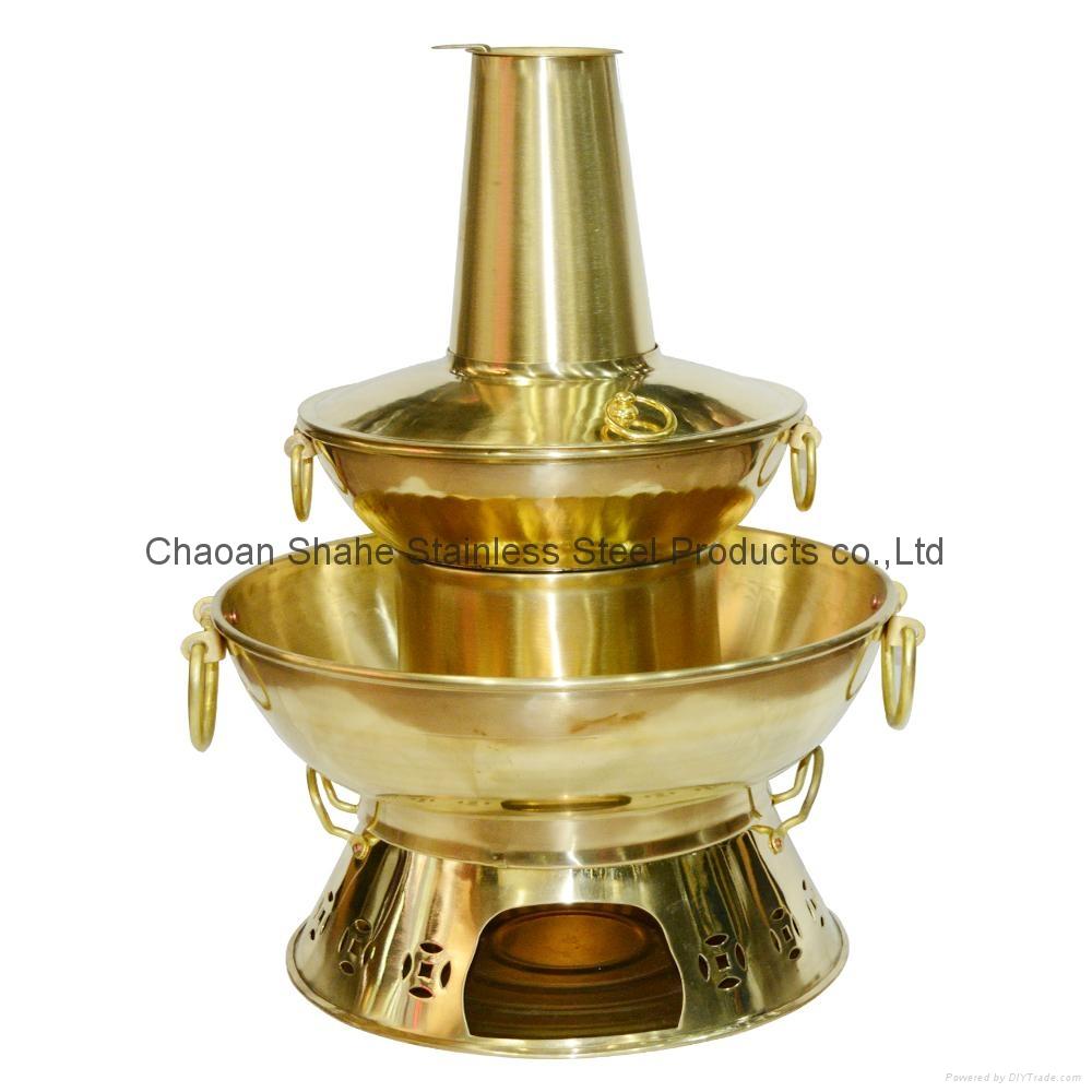 炊具銅燒炭煙囪雙層火鍋 1