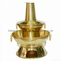 炊具铜烧炭烟囱双层火锅