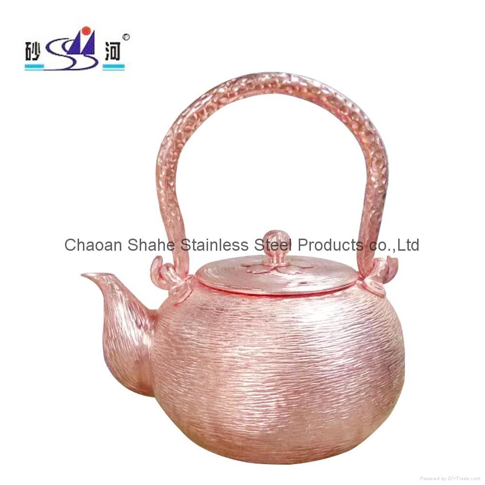 Handmade Red Copper Tea Kettle 1