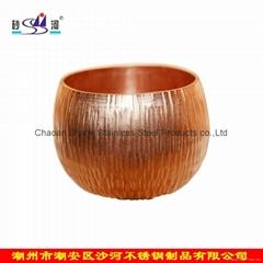 砂河 52mm紫铜手打功夫茶茶杯 茶楼休闲锤线茶具 供广州沙