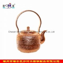 Ø9xH7.5cm紫銅手打潮汕泡工夫茶茶壺茶樓用品