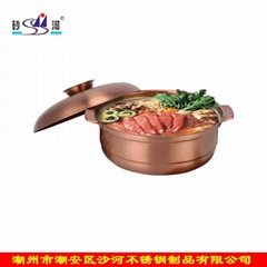 砂河 蘆筍老鴨火鍋 不鏽鋼復底砂鍋