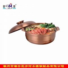 砂鍋蘆筍老鴨火鍋食品容器不鏽鋼復底砂鍋適用於電磁爐燃氣爐使用