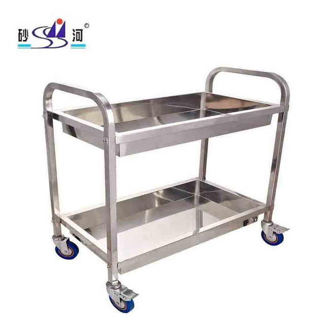 Hotel Kitchen Restaurant s/s 2 Tiers Plate Dish Garbage Collection Trolley 1