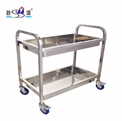 Hotel Kitchen Restaurant s/s 2 Tiers Plate Dish Garbage Collection Trolley