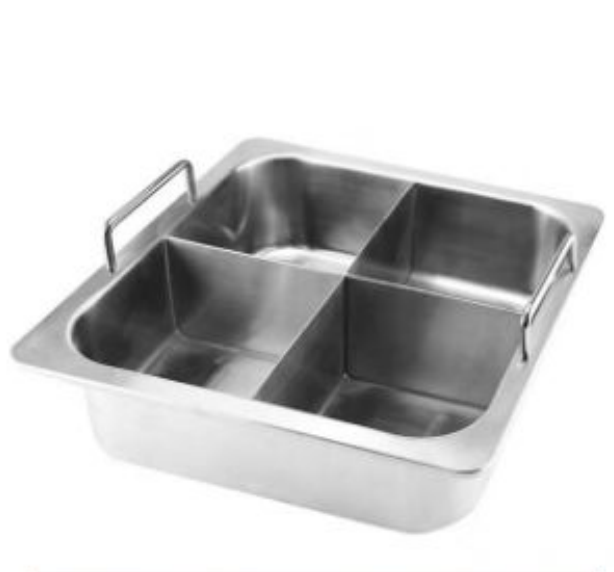 Induction cooker Stainless steel Square shabu with partition 4 grids hot pot  1