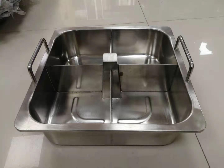 不锈钢方形鸳鸯四格火锅盆带柱 1